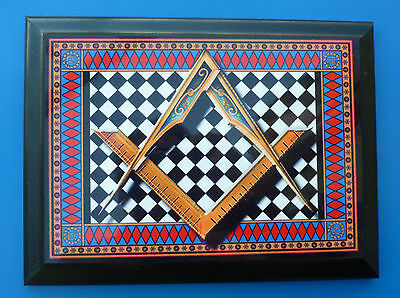 Masonic Wood Base Plaque - Square & Compasses  on Chequered Pavement