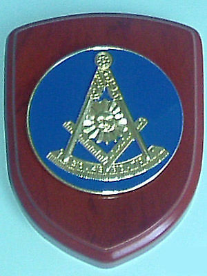 Masonic Wood Base Shield Wall Plaque Mini Crest ~ Square Compasses Past Master