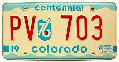 Colorado 1976 CENTENNIAL / BICENTENNIAL Arapahoe License Plate PV 703 Low Number