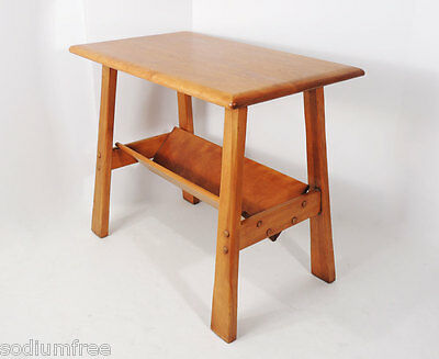 Vintage Mission style Solid Maple Wood Magazine Rack End Side Table 1950s