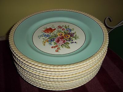 Old English Johnson Bros. (12)  blue & floral dinner plates