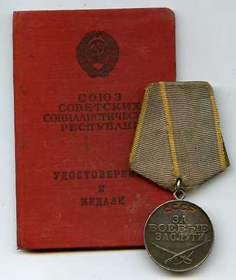 """Soviet Russian ARMY Medal Silver """"For Services In Battle"""" With The Document RARE"""