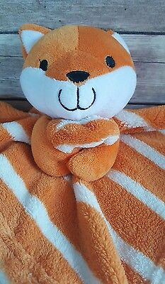 Baby Plush Security Blanket Lovey Fox Orange and White Square Blankie L