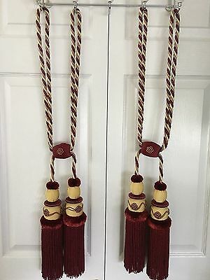 Pair of Antique Silk Curtain Tie Backs - Tassels - Burgundy & Gold - Ex Large