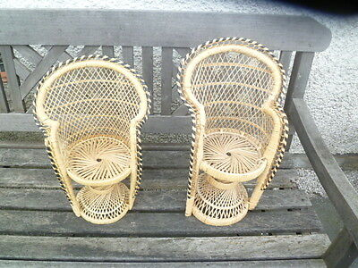 Four PEACOCK CHAIRS Vintage Cane Wicker Bamboo Dolls Display