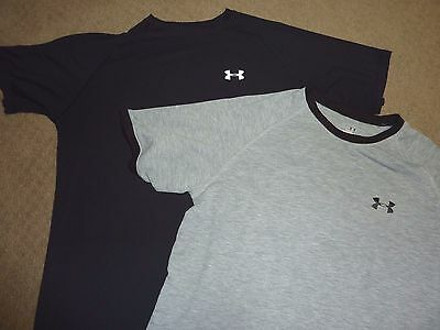 2 Men's UNDER ARMOUR BLACK & GRAY  Athletic Fitness Top Shirt Size MEDIUM