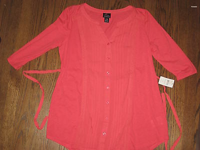 NEW Motherhood Oh Baby maternity womens medium top blouse shirt $40 coral