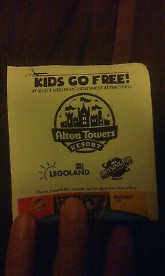 1 x FREE CHILD FREE ENTRY VOUCHER CODE TO ALTON TOWERS LEGOLAND MAY 2018