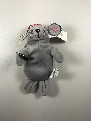 Vintage Coca-Cola Plush Beanie Baby Seal With Cap with Tag