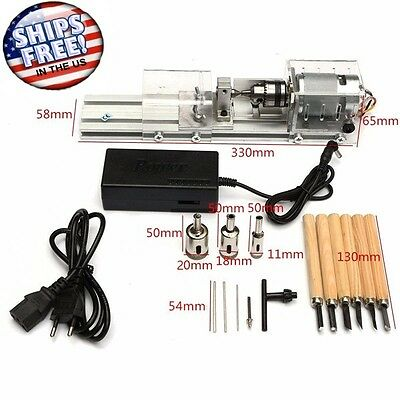 Drillpro Mini Lathe Machine Woodworking DIY Lathe Set with DC 24V Power Adapter