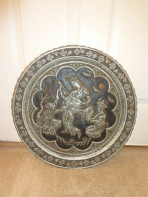Important Large Persian Copper Tray Mogul Qajar Esfahan Ghalamzani Islamic Art