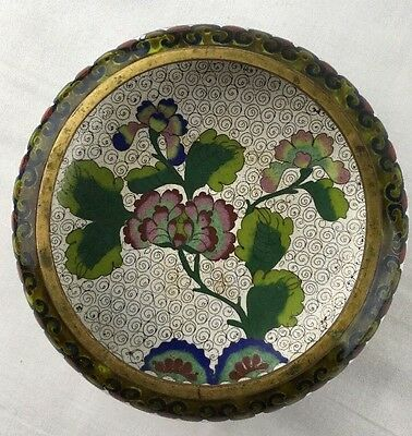 """Vtg 5.5"""" Chinese Cloisonne Bowl 1.75"""" Tall White w Flowers Asian Early 1900's"""