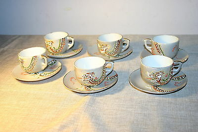 Occupied Japan Moriage Dragonware Tea Cups and Saucers for 6