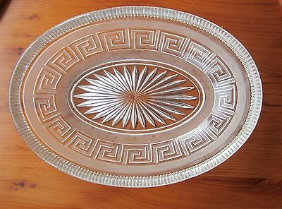 Antique Victorian pressed glass oval bowl, Diamond Reg mark date before1868