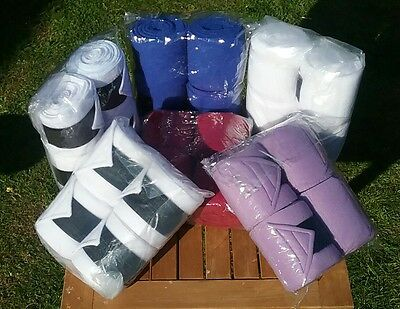 new set of 4 polar fleece exercise/stable bandages horse/cob/pony . Lilac