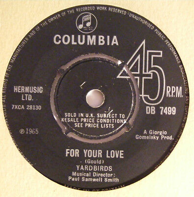 YARDBIRDS For Your Love   Columbia UK 1965 Beat 7""