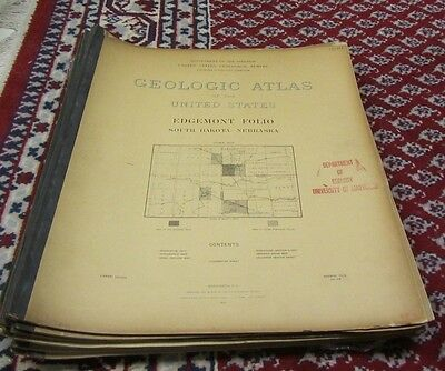 1904 Edgemont South Dakota Nebraska Folio US Geological Survey Atlas 18x22 Maps