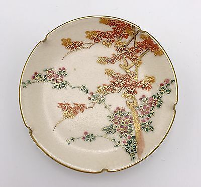 Antique Japanese Satsuma Plate of Maple Trees Scenery