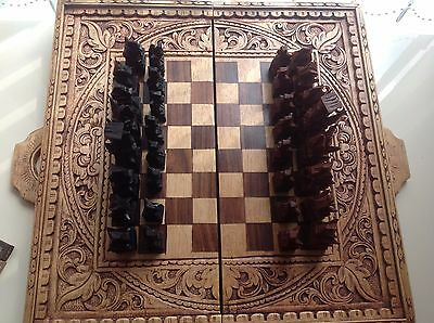 Chess set and Backgammon set (Wooden) from Bali