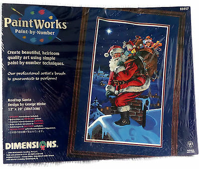 1999 Dimensions Christmas Paint By Number Kit Rooftop Santa 91057 Sealed