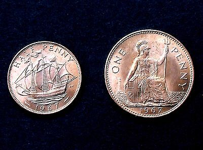 Queen Elizabeth II 1967 PENNY & HALFPENNY - Brilliant unc - 50th BIRTHDAY GIFT