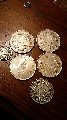 Lot of  22.5 Swiss Francs All Old silver