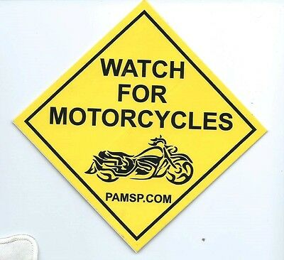 Watch For Motorcycles Yellow Decal Bumper Sticker/Window Sticker (2) 4-1/4 sq