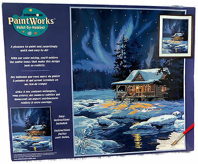 2004 Dimensions Winter Paint By Number Kit Moonlit Cabin 91223 Complete