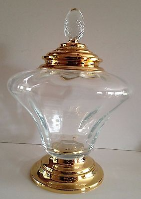 Large BonBonniere (Candy or Soap) Crystal Dish with Gold Plate Accents
