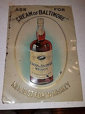 Cream Of Baltimore Whiskey Pre-Prohibition Painted Tin Advertising Sign