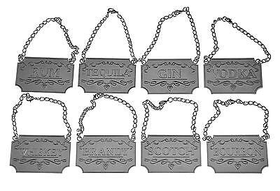 Liquor Decanter Tags Labels Set of Eight Silver or Copper Available Whiskey,...