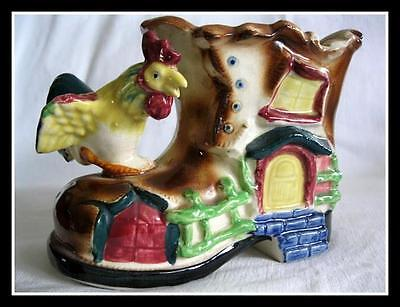 Rare Early Majolica Old Mother Hubbard Boot Rooster Planter
