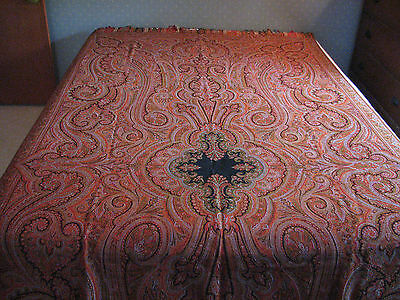 Antique Large KASHMIR Hand Woven Wool Shawl 128x59 Fringed Edge, Pre 1900's