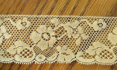 "Antique Lace Trim Edging 36"" x 1 5/8"" Flowers Floral Yellow Scallop"