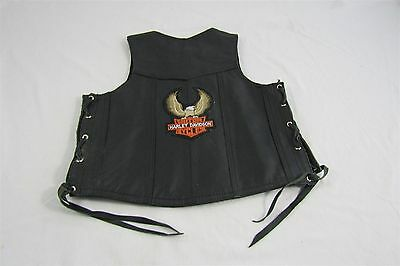 Harley Davidson  Leather Motorcycle Embroidered Vest Size Small