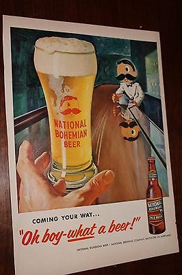Vintage Ad from Life magazine 1955 National Bohemian Beer  bartender  great art