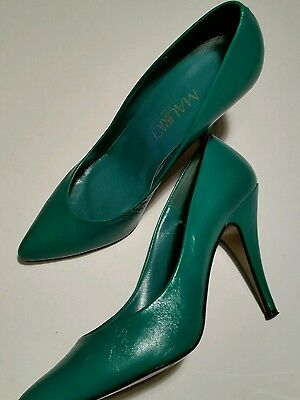 Vintage 80's Fashion Pumps Green Leather Size 8.5 Green