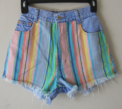 VTG 80s 90s Steel jeans pastel print cut off retro womens high waist shorts sz 5