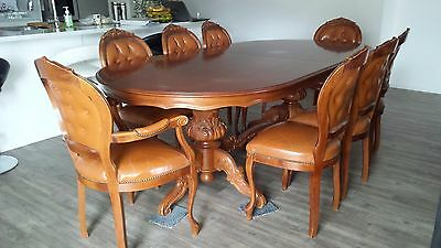 Antique table & 10 chairs