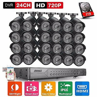2TB HDD Recorder 24CH 1080N DVR 24x 720P HD Security Camera System Ind/Out Video