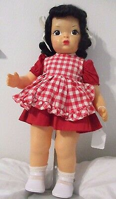 "Terri Lee Doll 16"" Hard to Find  Black Hair 1950's  Two Piece Tagged Dress"
