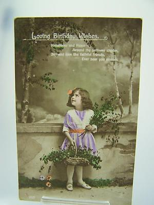 Postcard Loving birthday wishes colorised photo young girl flowers c1921     172