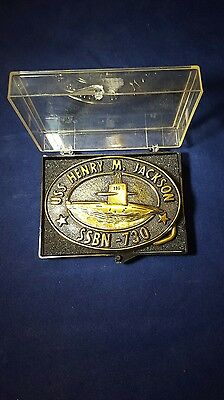 Vintage U.S.S. HENRY M. JACKSON SSBN-730 SUBMARINE COMMISIONED BRASS BELT BUCKLE