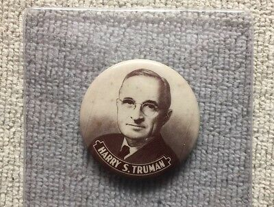 """1948 Harry S Truman For President 1 3/4"""" Celluloid  PIcture Political Button"""