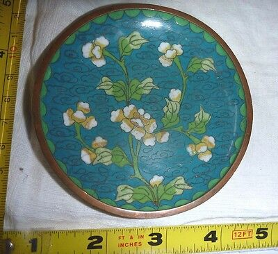 """Vtg Chinese Cloisonne PIN TRAY/Dish - Blue w/White Floral Design - 3 3/4"""" Dia"""