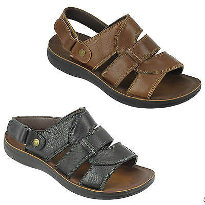 Mens Real Leather Sandals Adjustable Strap Open Toe Walking Slippers Black Brown