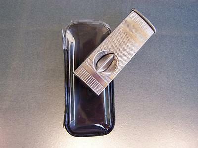 Vintage c1970's German engine turned cigar cutter in pouch new old stock