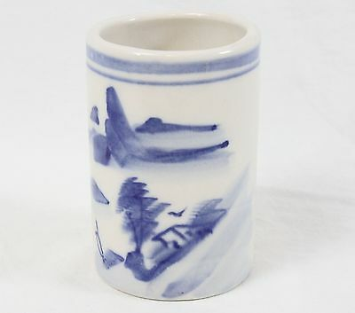 "Chinese Vintage Porcelain Hand Painted 4.5"" Brush Pot Cylinder Vase Landscape"
