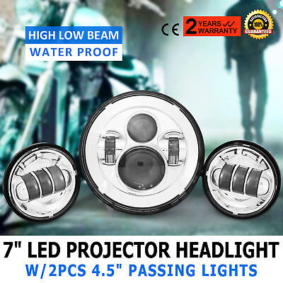 """7"""" Motorcycle Led Projector Daymaker Headlight Waterproof W/auxiliary Lights"""