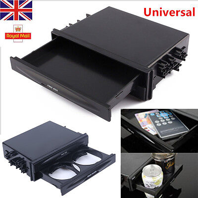 Universal Car Truck Double Din Radio Pocket Drink-Cup Holder Storage Box UK Kit